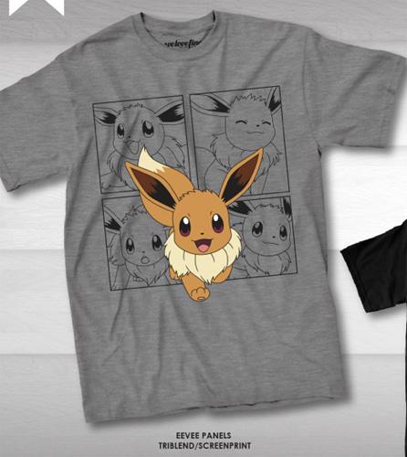 4506378f YesAnime.com | Pokemon EEVEE Panels Men size T-shirt - Grey