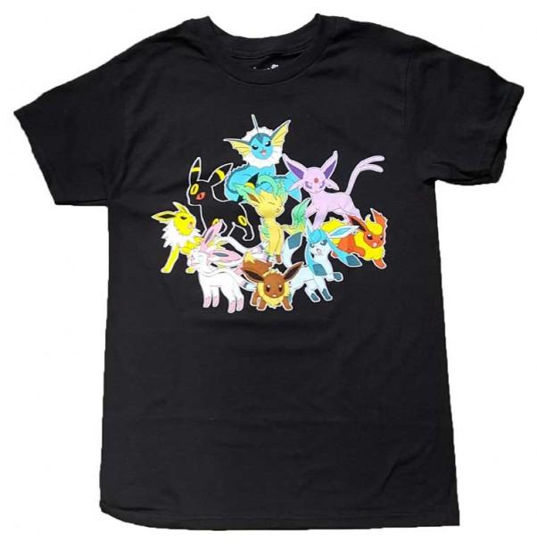 6936afc8a YesAnime.com | Pokemon Eevee Evolution Group Text Men T-shirt - Black